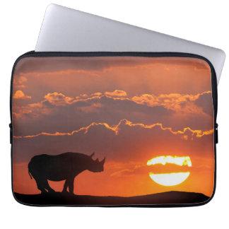 Rhino at sunset, Masai Mara, Kenya Laptop Sleeve