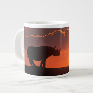Rhino at sunset, Masai Mara, Kenya Large Coffee Mug