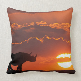 Rhino at sunset, Masai Mara, Kenya Throw Pillow