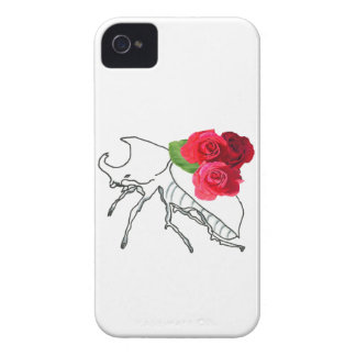 Rhino Beetle with Roses iPhone 4 Covers