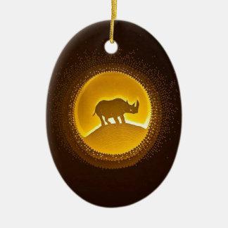 Rhino Ceramic Oval Ornament