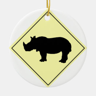 Rhino Crossing Sign Ceramic Ornament