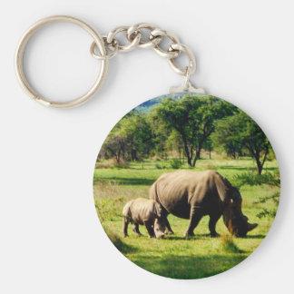 rhino family basic round button keychain