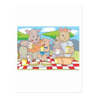 Rhino Family Picnic Postcard