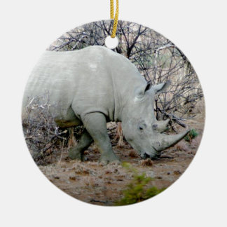 Rhino from South Africa Round Ceramic Ornament