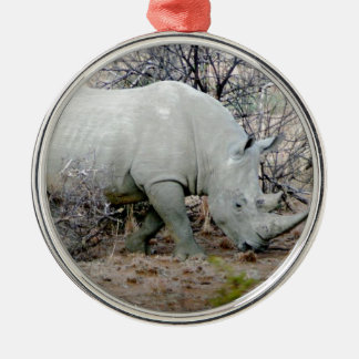 Rhino from South Africa Silver-Colored Round Ornament