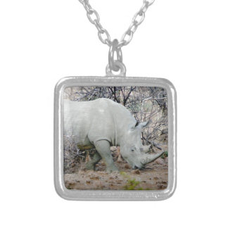 Rhino from South Africa Silver Plated Necklace