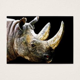 Rhino Head, Black Background Business Card