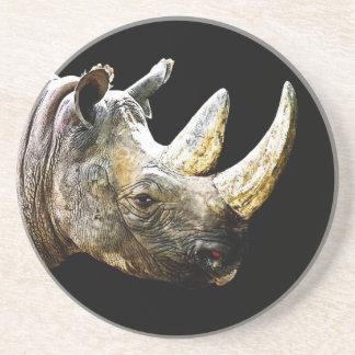 Rhino Head, Black Background Coaster