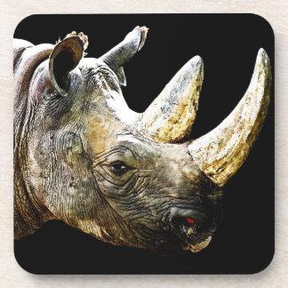Rhino Head, Black Background Drink Coaster