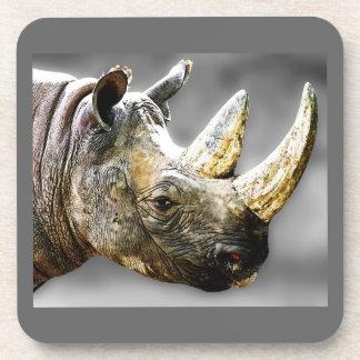 Rhino Head, Grey Background Painting Coaster