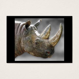 Rhino Head, Grey Background Poster Business Card