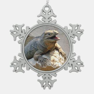 Rhino Iguana Pewter Snowflake Ornament