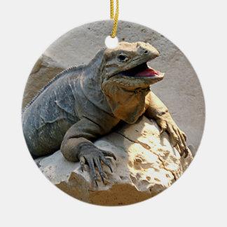 Rhino Iguana Round Ceramic Ornament