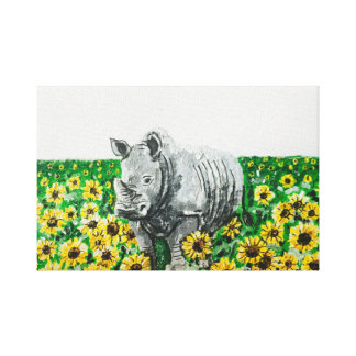 Rhino in Sunflowers Canvas Print