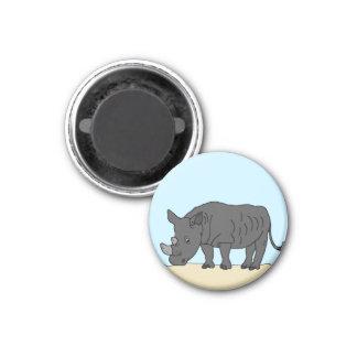 Rhino in the Savanna 1 Inch Round Magnet