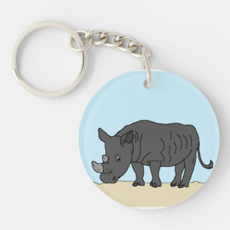 Rhino in the Savanna Keychain