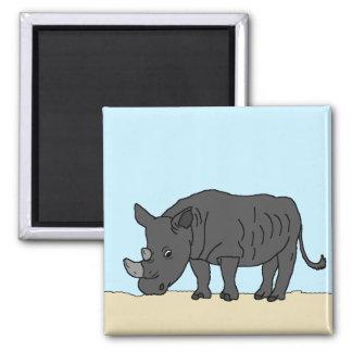 Rhino in the Savanna Square Magnet