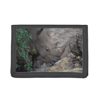 rhino in tree and rocks animal jungle africa trifold wallet