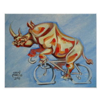 Rhino on a Bicycle Poster