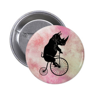 Rhino on Penny Farthing Bicycle 2 Inch Round Button