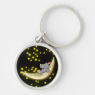 Rhino On The Moon Keychain