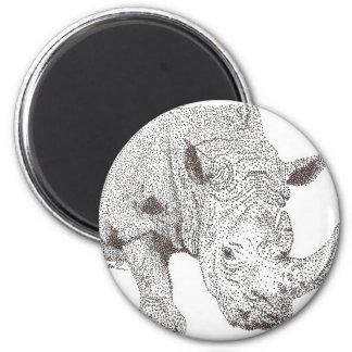Rhino Pointillism Magnet