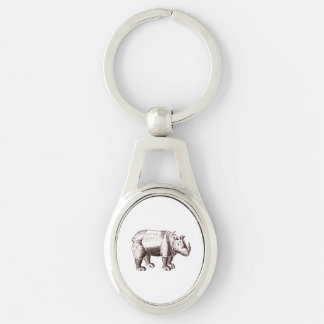 Rhino - Renaissance Style Drawing of a Rhinoceros Silver-Colored Oval Keychain