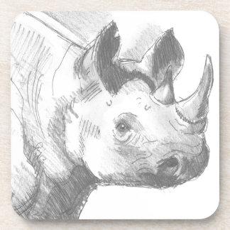 Rhino Rhinoceros Pencil Drawing sketch Coasters