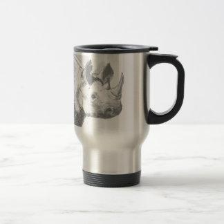 Rhino Rhinoceros Pencil Drawing sketch Travel Mug