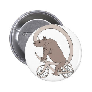 Rhino Riding With Its Horn Bike 2 Inch Round Button