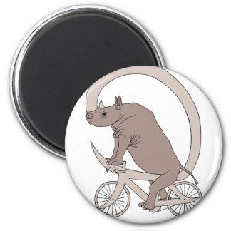 Rhino Riding With Its Horn Bike 2 Inch Round Magnet
