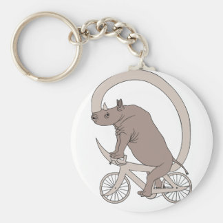 Rhino Riding With Its Horn Bike Basic Round Button Keychain