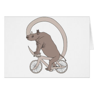 Rhino Riding With Its Horn Bike Card