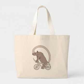 Rhino Riding With Its Horn Bike Large Tote Bag