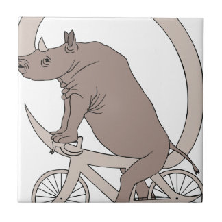 Rhino Riding With Its Horn Bike Tile