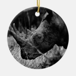 Rhino Round Ceramic Ornament