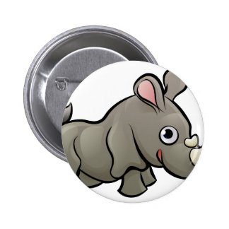 Rhino Safari Animals Cartoon Character 2 Inch Round Button