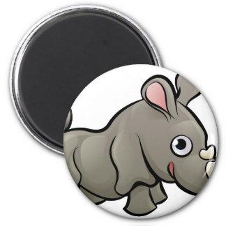 Rhino Safari Animals Cartoon Character 2 Inch Round Magnet