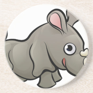 Rhino Safari Animals Cartoon Character Beverage Coaster