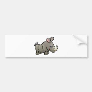 Rhino Safari Animals Cartoon Character Bumper Sticker