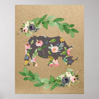 Rhino safari pink floral nursery print