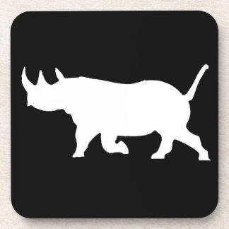 Rhino Silhouette, left facing, Black Background Coaster