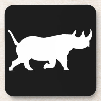 Rhino Silhouette, right facing, Black Background Coasters