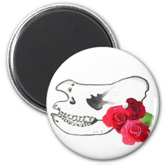 Rhino Skull with Roses 2 Inch Round Magnet