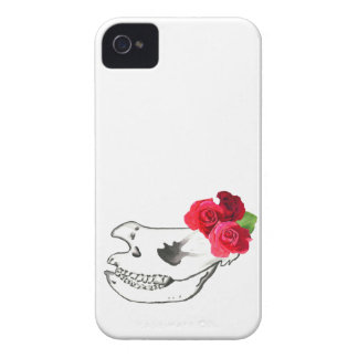 Rhino Skull with Roses iPhone 4 Cases