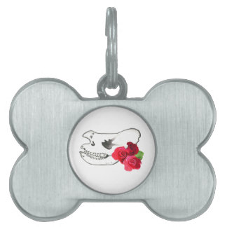 Rhino Skull with Roses Pet ID Tag
