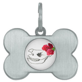 Rhino Skull with Roses Pet ID Tags