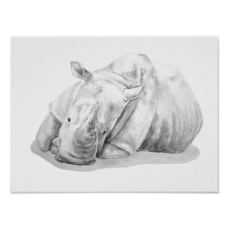 Rhino Two Grey Poster
