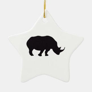 Rhino Vintage Wood Engraving Ceramic Star Ornament